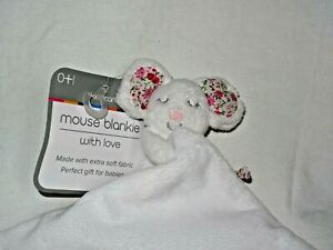 Kiddicare With Love Pink Mouse Floral Soft Baby Comforter Blankie with tags
