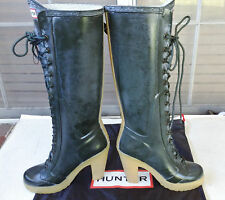 "Hunter Lapins Dark Green 4"" Heel Lace Up Rubber Boots US6 EU37 Gummistiefel EUC"
