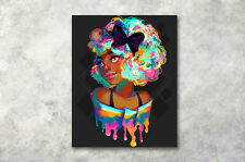 Colorful Hair African Girl Abstract Wall Art Oil Photo Print Painting Canvas
