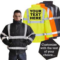 *Premium* Custom Print Hi Vis Bomber Jacket Personalised Parka Coat Safety Work