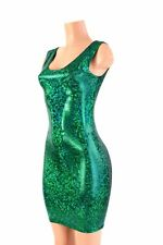 SMALL Green Shattered Glass Holographic Spandex Bodycon Tank Dress Ready To Ship