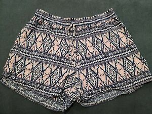 Justice 18 NWOT Shorts Blue Short with Pink Aztec print Elastic Waist 18