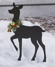 Christmas Deer Doe w/ Lighted Garland Metal Silhouette Garden Yard Stake