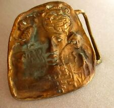 "True Vtg 70s GROOVY CREEPY FACE SOLID BRASS HIPPY BELT BUCKLE for 1.5"" BELT"
