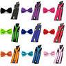 Men's Y-Shape Suspenders Brace Pre-tied Bow Tie Wedding party Bowtie Set