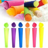 6pcs/set Silicone Popsicle Mold Ice Lolly Mold Ice Maker Snack Ice Mold New