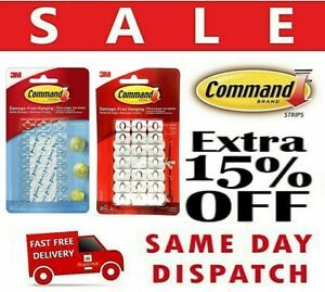 3M Command Decorating Clips Hooks Self Adhesive Strips Wall Hanging Fairy Lights