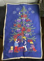 Vintage Christmas Embroidery Crewel Panel Partially finished Blue Linen Children