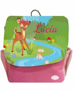 Kindergartenrucksack Happy Knirps NEXT Print mit Name Rosa Reh am Fluss