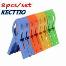8pcs Plastic Laundry Clothes Beach Towel Pins Hangers Spring Clamp Large Clips