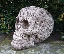 STONE GARDEN ROSES FLORAL SKULL GOTHIC HUMAN HEAD ORNAMENT STATUE