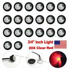 "20X 3/4"" CLEAR RED LED Clerance Marker Bullet Lights Lamps for Truck Trailer Bus"