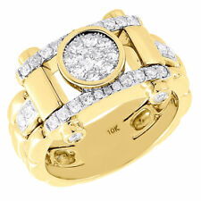 Diamond Pinky Ring Mens 10K Yellow Gold Round Solitaire Design Band 1.05 Tcw.