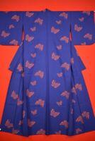 Vintage Japanese Wool Antique BORO KIMONO Kusakizome Woven Textile/XT15/745