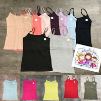 Primark Ladies Womens Girl Stretch Plain Cami Vest Strap Strappy Top Size 4 - 24