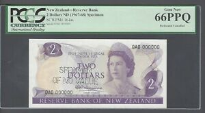 New Zealand 2 Dollars 1967-68 P164as Prefix 0A0 Specimen Perforated Uncirculated