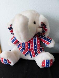 """PATRIOTIC ELEPHANT...Red, White, Blue Jacket Kuddle Me Toys  16""""  sitting NRFB's"""