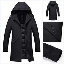 Winter Men's Hooded Cotton Padded Quilted Jacket Stand Collar Outwear Overcoat