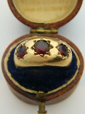 Antique or Vintage 9ct Gold Hallmarked Gypsy Ring Set With A Trilogy Of GARNETS!