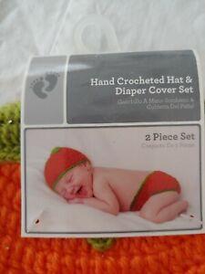 Pumpkin Hand Crocheted Hat & Diaper Cover Set Fall Autumn 0-9 months New