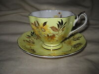 Queen Anne Yellow and Gold Footed Tea Cup & Saucer Bone China England Vintage