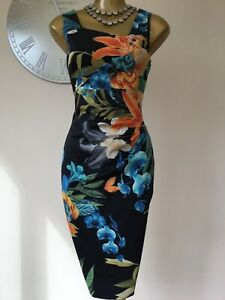 💕KAREN MILLEN - 10 UK - STUNNING ORIENTAL LILIES STRETCH SATIN PENCIL DRESS