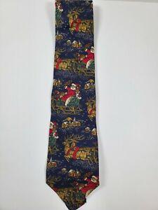 VTG ROOSTER Santa Claus w/Sleigh & Reindeer Christmas Tie