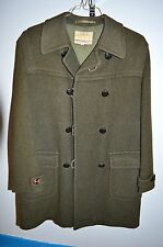 Vintage Lodenfrey Western Germania Verde Militare pelle Bottoni Cappotto Giacca
