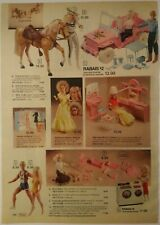 1982 Vintage PAPER PRINT AD BARBIE cow-girl doll Ken jeep horse furniture toys
