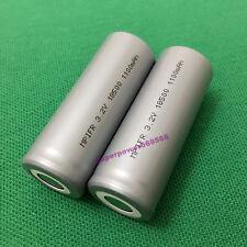 2pcs 3.2V IFR 18500 1100mAh LiFePO4 rechargeable Li phosphate battery flat cap