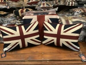 Pair of Union Jack /Uk Tapestry Cushions by Woven Magic (12x18in Vintage white )