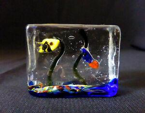 """MURANO ITALY STYLE 1.7"""" miniature ART GLASS figurine AQUARIUM FISH paperweight"""