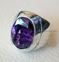 Solid 925 Sterling Silver Natural Purple Amethyst Cut Gemstone Mens Ring B283