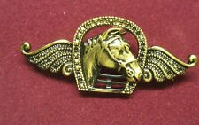 Horse Head And Wings Brooch Gold In Colour