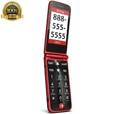 Jitterbug Flip Easy Use Cell Phone Simple Red GreatCall Big Number Hearing Kid