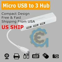 White Micro USB to Network LAN Ethernet RJ45 HUB Adapter with 3 Port USB 2.0