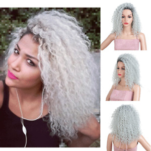 Silver Ombre Wig Grey Black Short Afro Kinky Curly Wigs For Women Synthetic Hair