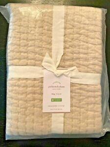 Pottery Barn Pick Stitch Cotton Linen Sham Taupe Beige KING - Set 2 - NEW $90