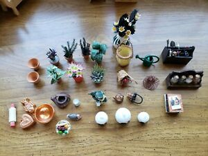 Lot of Vintage Doll House  Minatures- tools.plants.kitchen items