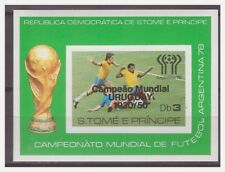 0189 Sao Tome 1978 soccer Argentina overprint Uruguay S/S MNH imperf