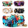 Fashion Multilayer Natural Stone Crystal Bangle Women Beaded Bracelet Jewelry