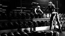 "023 Gym Bodybuilder Model - Bodybuilding Fitness Motivational 43""x24"" Poster"