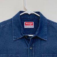 Wrangler Mens Denim Shirt Blue Medium