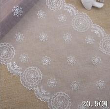 "2 Yard Pretty Cream Embroidered Scalloped Tulle Lace Trim  8"" Wide"