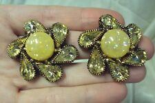 big yellow rhinestone + confetti lucite flower round swirl gold clip on earrings