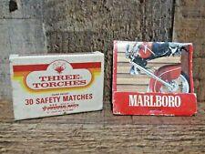 Vintage Marlboro Indian Bike RoadMaster Matchbook & Matchbox Three Torches