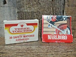 Vintage Marlboro Indian Bike RoadMaster Matchbook & Matchbox Three Torches