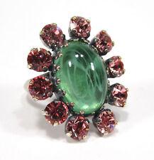 SoHo® Ring Oval Kristall Glas light rose grün handgemachter Glasstein altsilber