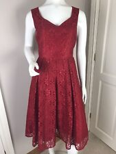 JOLIE MOI BERRY LACE FIT AND FLARE EVENING MIDI DRESS, GOLD ZIP BACK SIZE 12