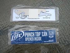 ( LOT of 2 ) MILLER LITE Beer Bottle TOP CAN PUNCH OPENER Pop Instruction Card